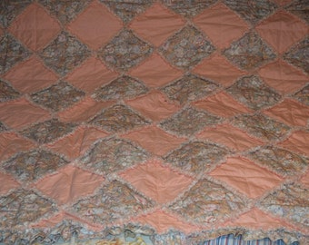 "Quilted Peach-Peach Floral Rag Quilt With Ruffle Trim 72""x72"""