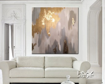 Mono Gold 48x48 original abstract painting on high quality, 1.5 in thick, gallery wrapped canvas