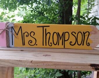 Wooden Pencil Name Plaque