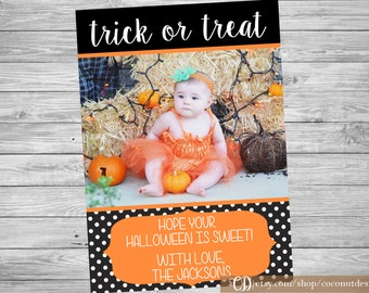 Halloween Photo Card / Halloween Card / Trick Or Treat / Black and Orange / Digiatl File