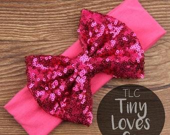 Baby Headband. Infant Headband. Sequin Bow. Sequin bow headband. newborn headband. Sequin. Pink baby headband. baby headband. baby hair bow.