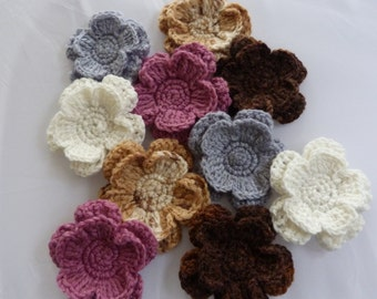 Crochet  Applique  Flowers  x 10
