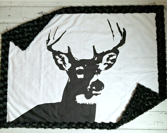 MInky Deer Baby Blanket - Designer Black Buck Minky - Black