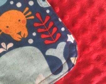 Personalized Minky Burp Cloth- Undersea Animals