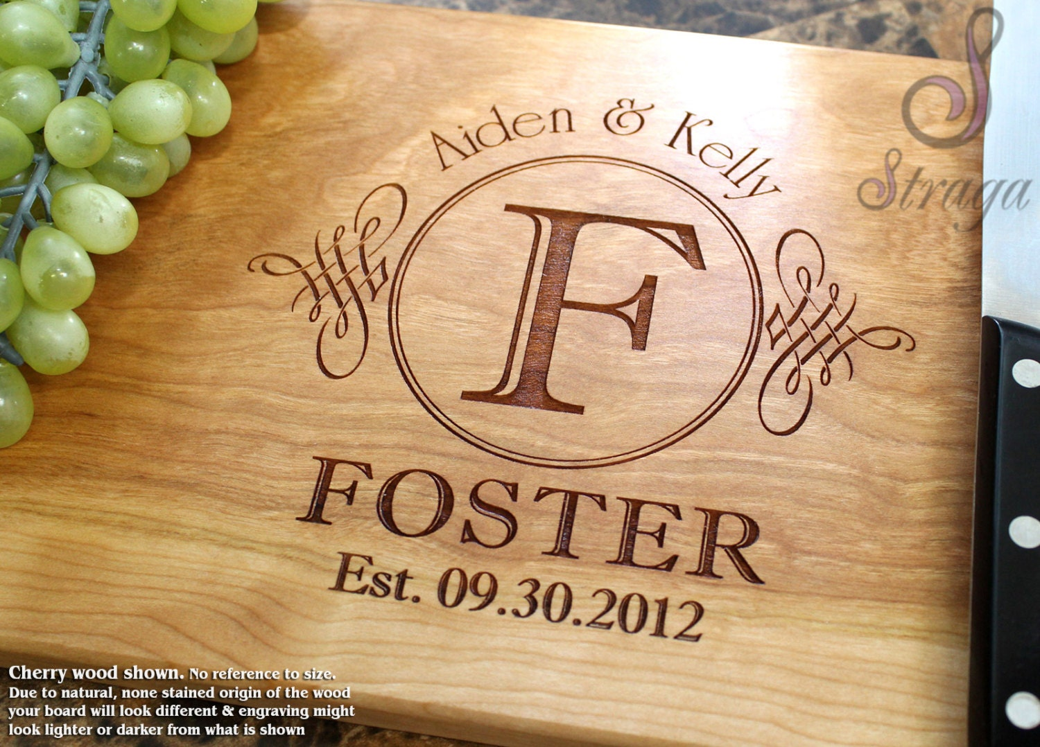 Engraving Wedding Gifts: Personalized Engraved Cutting Board Wedding Gift Anniversary