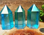 Blue Aqua Aura Crystal Quartz Tower Point ~ SZB12