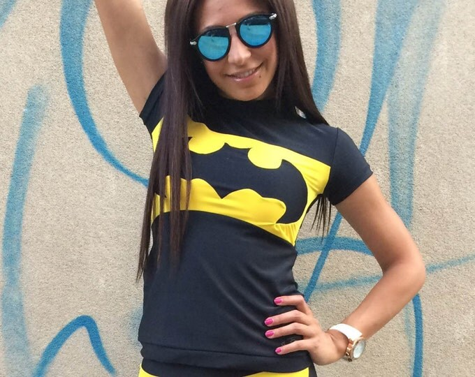 New Workout Batman T-shirt, Womens Tight Tee, Ultra Soft Light Casual Sport Wear, Design Yoga Top by SSDfashion