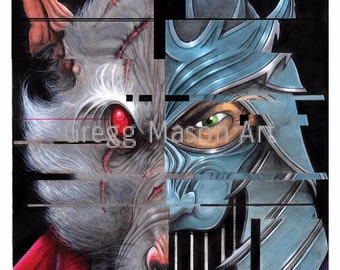 Shredder/Splinter (TMNT) Poster Artwork A4 Print - Signed