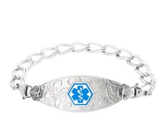 Lovely Filigree Stainless  Medical Alert ID Bracelet Custom Engraving-Light Blue-9963LBU