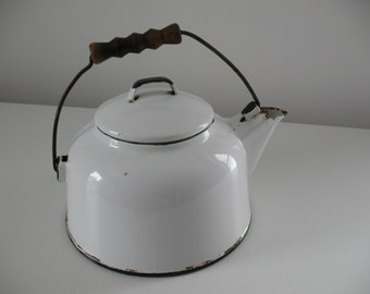 Vintage Black and White Enamelware kettle / white enamel teakettle / modern rustic farmhouse home decor
