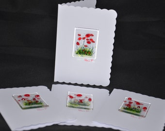 Pack of 4 Handmade Fused Glass Poppy Cards