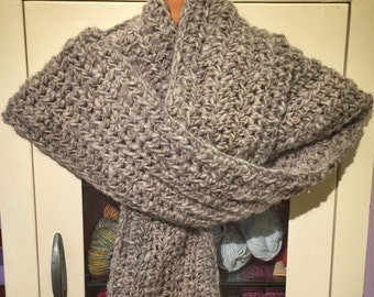 Handmade Scarf   Crochet Scarf   Undyed Wool Scarf   Natural   Organic   Women's Scarves   Men's Scarves   Grey   Gray