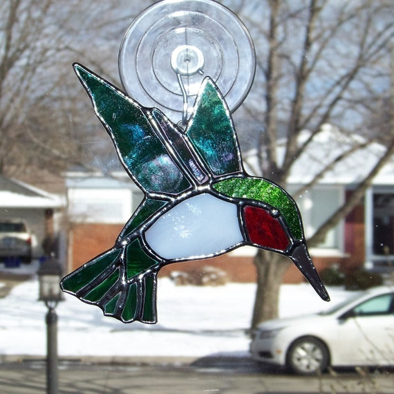 Ruby-throated Hummingbird Stained Glass By