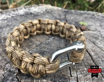 Survival paracord Bracelet Military specialist Camo Desert  with ss shackle