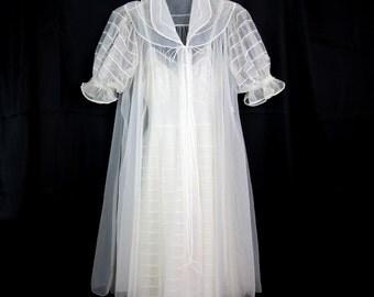 Vintage Sheer White Bridal Wedding Negligee Peignoir Two Piece Set By Shawdowline Small