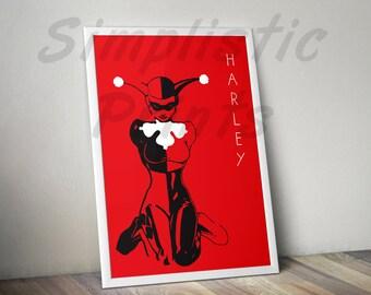 Harley Quinn comic book style minimalist wall print, wall art, 8x10, 11x14, 11x17, 13x19