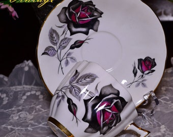 Windsor Gothic Black Rose Tea Cup and Saucer X1962/861