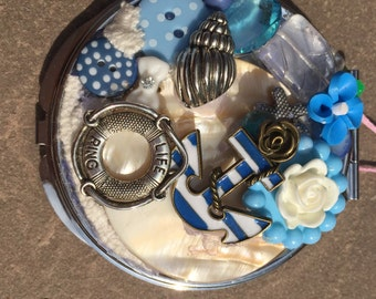 Beautiful Hand Embellished Mirror Compact