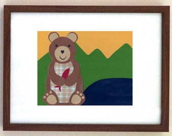 Kid's Room Decor, Woodland Creature, Bear, Wall Art