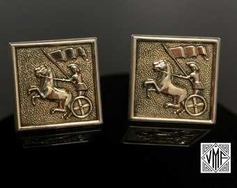 Vintage cufflinks by Swank, Roman gladiator chariot horse yellow gold plate Mad Men 1950s 1960s mid-century classic wedding groom men's gift