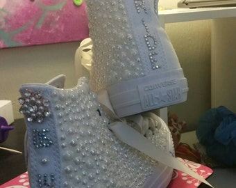Custom Personalized Bridal Wedding Converse shoe! Pearls and Crystals! All wedding Converse shoes are 10% off for my fall brides! Order now!