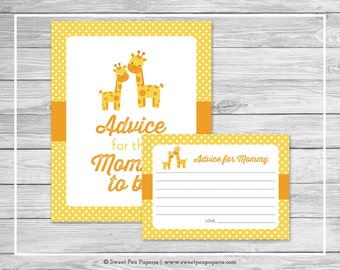Giraffe Baby Shower Advice for Mom Cards - Printable Baby Shower Advice Cards - Yellow Giraffe Baby Shower - Advice for Mom to Be - SP131