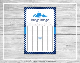 Whale Baby Shower Baby Bingo Game - Printable Baby Shower Baby Bingo Game - Blue Whale Baby Shower - Baby Shower Bingo Game - SP127
