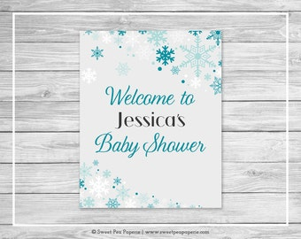 Winter Wonderland Baby Shower Welcome Sign - Printable Baby Shower Welcome Sign - Winter Wonderland Baby Shower - Welcome - EDITABLE - SP114