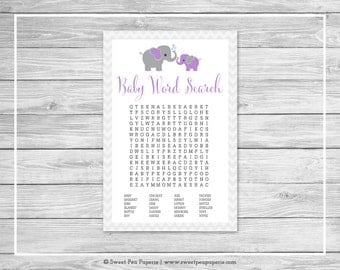 Elephant Baby Shower Baby Word Search Game - Printable Baby Shower Baby Word Search Game - Purple and Gray Elephant Baby Shower - SP116