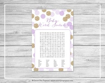 Purple and Gold Baby Shower Baby Word Search Game - Printable Baby Shower Baby Word Search Game - Purple and Gold Glitter Baby Shower- SP109