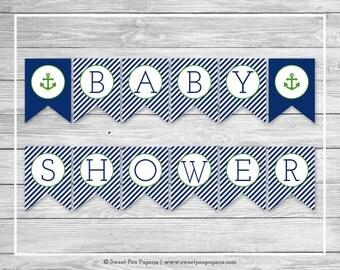 Nautical Baby Shower Banner - Printable Baby Shower Banner - Navy Green Baby Shower - Baby Shower Banner - Nautical Banner - EDITABLE- SP120