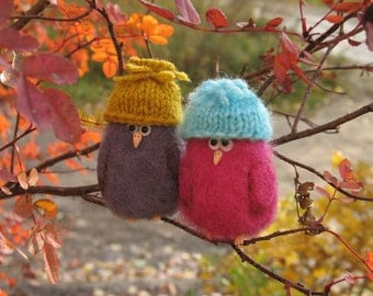 funny birds in hats brooches needle felting