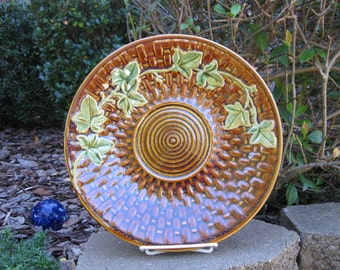 Brown plate, Basketweave and ivy