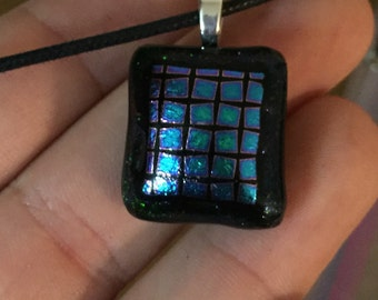 "Dichroic ""On the Grid"" fused glass & 925 sterling silver pendant on cotton necklace or silver chain"