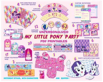 My Little Pony Party decorations, Party printables, party supplies, birthday party, kids party, quotes, labels,digital, paper PDF