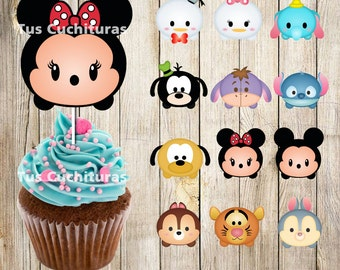 12 PRINTABLE Tsum Tsum Cupcake Toppers, Instant Download, Printable Party Favors, Disney Tsum Tsum Charaters