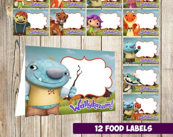 12 Wallykazam Food Tent Cards instant download, Printable Wallykazam Labels, Wallykazam Party Table Label