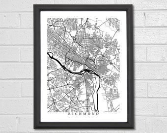 Richmond Map Art - Map Print - Black and White Print - Virginia - Graduation Gift - Wedding Gift - Housewarming Birthday - Engagement Gift