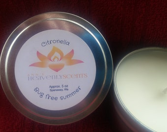 Citronella Candle- 5 oz tin-12 oz tin- outdoor candle- bug free summer-mosquito repellent
