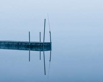 Lake Photograph Print - Dock, Pier, Water, Peaceful, Minimalist, minimal, calm