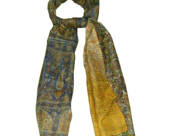 Vintage Short Scarf Reversible Kantha Dupatta Pure Silk Stole Fabric