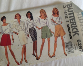 Misses Petite Skirt Shorts Size 6-8-10-12 Butterick #6287. fast&easy sew pattern