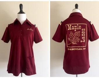 "Maroon ""Anita"" Retro Bowling League Polo Shirt / Size Medium / Vintage King Louie Creation / Maple Lanes - Sheboygan, WI"