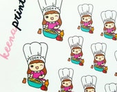 A136   COOKING KEENACHI Emoticon Repositionable Stickers Perfect for Erin Condren Life Planner, Filofax, Plum Paper or scrapbooking