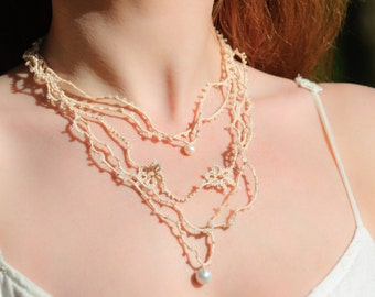 Cream color handmade tatting necklace with pearls