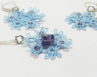 Lace Earrings, Boho Lace Earrings, Beaded Lace Earrings, Tatting Jewelry, Handmade Lace