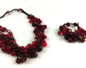Ruby Red Glass Cluster Bead Necklace and Bracelet Combo (save 15% on buying the combo set)