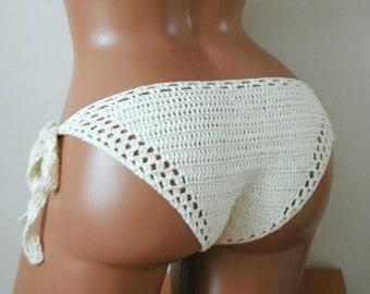 Crochet bikini bottom, crochet bikini, crochet swimwear, Bikini bottom, Knitted bikini,  crochet bottom, Festival clothes, Cream bottom