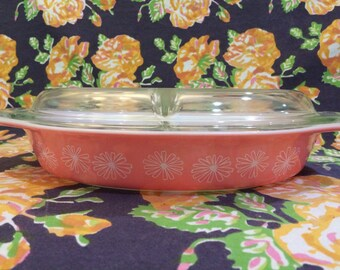 Pyrex Pink Daisy Divided Dish