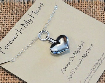 Heart Cremation Jewelry, Cremation Necklace, Sterling Silver Heart Ash Holder Necklace, Ash Holder Jewelry, Urn Necklace, Pendant for Ashes